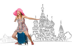 The young girl in concept of tourism to russia. Young girl in concept of tourism to Russia Stock Images