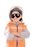 Young girl construction worker in a hard hat and Royalty Free Stock Photography