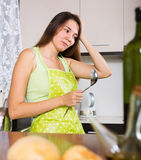 Young girl cooking first dish in her life Royalty Free Stock Photography