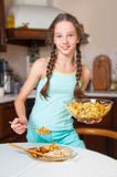 Young girl cooking. Healthy food Royalty Free Stock Image
