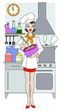 Young girl cooking in the kitchen Royalty Free Stock Photo
