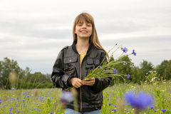 Young girl in cornflower field Stock Photos