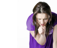Young girl coughing. Girl with a cold coughing Royalty Free Stock Photo