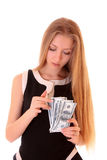 Young girl count dollars Royalty Free Stock Image