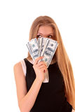 Young girl count dollars Stock Photography