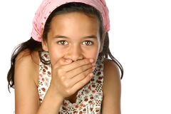 Young girl cover mouth Stock Photography