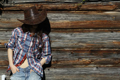 Young girl in  cowboy hat Stock Photography