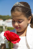 Young girl with crown and a red rose Stock Photography