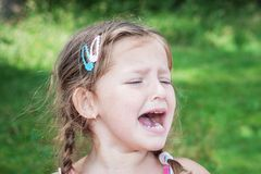 Young girl crying because of headache Royalty Free Stock Photo