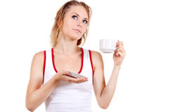 Young girl with cup of coffee Royalty Free Stock Photos