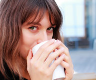 Young girl with a cup of coffee Royalty Free Stock Photo