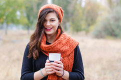 Young girl with a cup of coffee Stock Photos