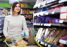 Young girl customer looking for food supplies for week in superm Royalty Free Stock Image