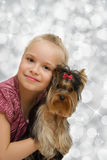 Young girl with cute Yorkshire terrier - best friends Royalty Free Stock Photography