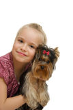 Young girl with cute Yorkshire terrier - best friends Stock Photo