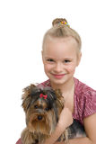 Young girl with cute Yorkshire terrier - best friends Stock Image