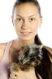 Young girl with cute yorkshire terrier dog Royalty Free Stock Images