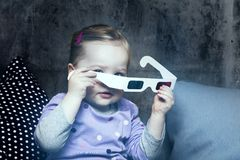 Young girl with 3D glasses Royalty Free Stock Photography