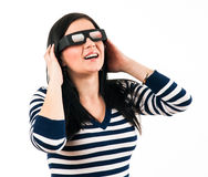 Young girl with 3D glasses Royalty Free Stock Images