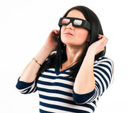 Young girl with 3D glasses Royalty Free Stock Photo