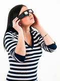 Young girl with 3D glasses Royalty Free Stock Photos