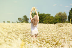 Young girl with daisies Royalty Free Stock Images