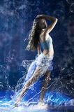 Young girl dance in blue costume. Stock Image