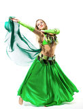 Young girl dance with green veil Royalty Free Stock Photo