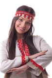 Young girl in dance pose and smile - flax cloth Royalty Free Stock Photo