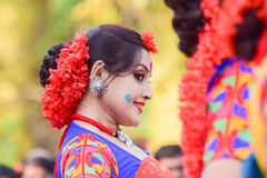 Young girl dancer's jouful expression at Holi (Spring) festival in Kolkata. Royalty Free Stock Photography