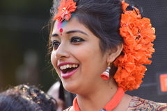 Young girl dancer's jouful expression at Holi (Spring) festival in Kolkata. Stock Photos