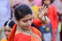 Young girl dancers perforimg at Holi (Spring) festival in Kolkata. Stock Photo