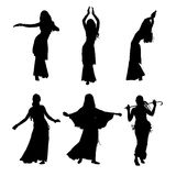Young girl dancing belly dance. Silhouette of girl dancing Arabic dance. Set of silhouettes. Vector illustration