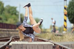 Young girl dancing breakdance on the street. Czech Republic Stock Photography