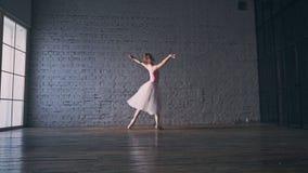 Young ballerina dancing. Ballet theme. Young girl dancing classical ballet stock video