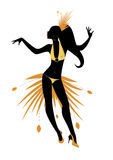 Young girl dancing latin music silhouette. Young girl dancing latin music: samba, salsa, mambo, rumba Stock Images