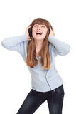 Young girl dancing and listen music Royalty Free Stock Photography
