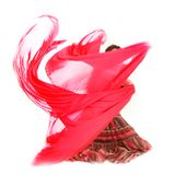 Young girl dancing with red scarf Stock Photography