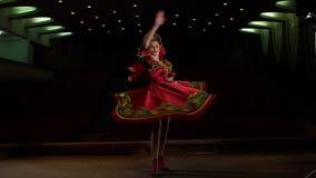Young girl dancing Russian folk dances, slowmo. stock footage