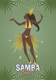 Young girl dancing samba. Young girl dancing latin music. Samba Royalty Free Stock Photography