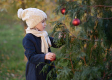 A Young girl decorating a fir-tree. Stock Image