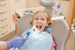 Young girl at dentist., dental treatment Royalty Free Stock Photos