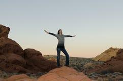 Young girl in the desert stock photos