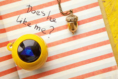 Young girl diary love question and a magic ball toy answering yes Royalty Free Stock Photo