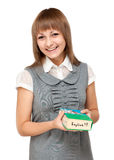 Young girl with dictionary english Stock Image
