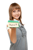 Young girl with dictionary english Stock Images