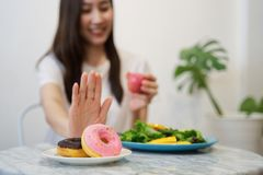 Young girl on dieting for good health concept. royalty free stock photography