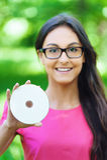Young girl disc hand Stock Photos