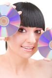 Young girl with disks Royalty Free Stock Photography