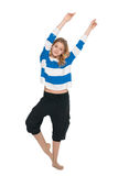 Young girl does fitness exercises Royalty Free Stock Photography